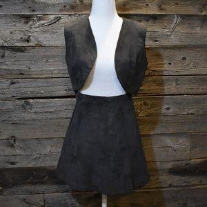 VTG Handmade Suede Leather Miniskirt & Vest Set XS